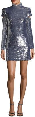 Helmut Lang Disco Mock-Neck Slit-Sleeves Sequined Mini Cocktail Dress