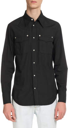 Maison Margiela Men's Casual Chest-Pocket Cotton Snap-Front Western Shirt