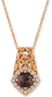 "LeVian Le Vian Chocolate Quartz (5/8 ct. t.w.) & Diamond (1/4 ct. t.w.) 18"" Pendant Necklace in 14k Rose Gold"
