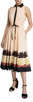 Kate Spade Pineapple-Patch Sleeveless Tie-Waist Shirtdress