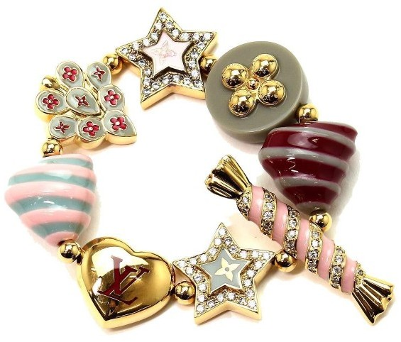 Louis VuittonLouis Vuitton Gold Tone Metal Candy Star Heart Charm Bracelet