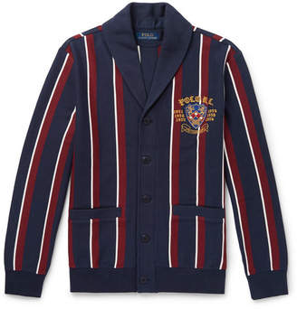 Polo Ralph Lauren Shawl-Collar Embroidered Striped Cotton-Blend Jersey Cardigan