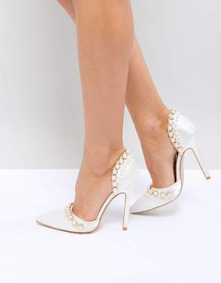 Be Mine Bridal Acacia Ivory Satin Faux Pearl Embellished Court Shoes