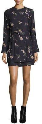 A.L.C. Jardani Belted Floral Silk Mini Dress, Blue $645 thestylecure.com