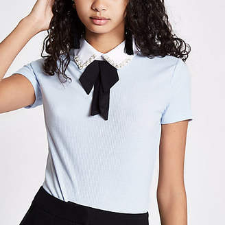 River Island Blue rib bow embellished collar top