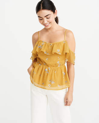 Abercrombie & Fitch Off-The-Shoulder Chiffon Blouse