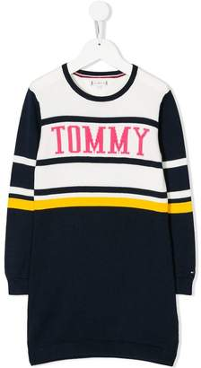 Tommy Hilfiger Junior logo intarsia knit dress