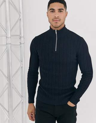 Asos Design DESIGN muscle fit cable half zip sweater in navy