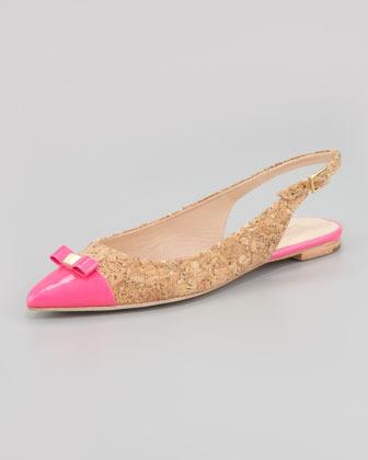 Kate Spade Ginny Cork Slingback Pointed-Toe Flat, Pink