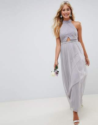 Asos Design DESIGN high neck mesh embellished waist maxi dress
