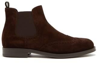Giorgio Armani Suede Chelsea Boots - Mens - Dark Brown