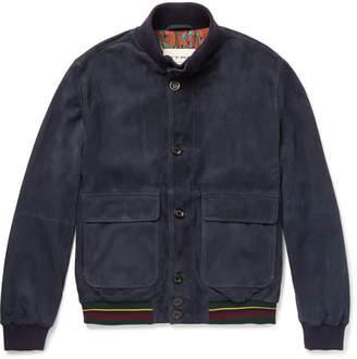 Etro Suede Bomber Jacket - Blue