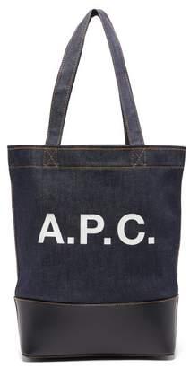 A.P.C. Axel Logo Print Denim Tote Bag - Mens - Dark Navy