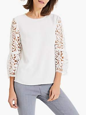 Phase Eight Zennah Lace Bell Sleeve Blouse, Ivory
