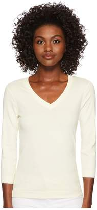 Three Dots 3/4 Sleeve Deep V-Neck Women's Long Sleeve Pullover