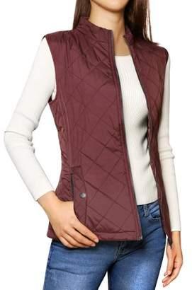Unique Bargains Woman Zip Closure Stand Collar Lightweight Quilted Vest Jacket Dark Blue L