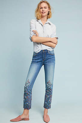 Driftwood Candace Mid-Rise Embroidered Ankle Jeans
