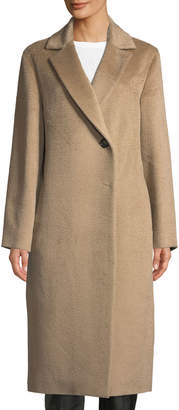 Cinzia Rocca Notched-Collar Long-Sleeve Alpaca-Blend Coat