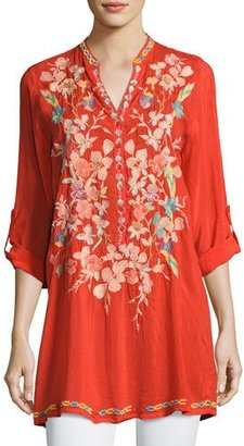 Johnny Was Nikky Embroidered Georgette Long Tunic, Orange $245 thestylecure.com