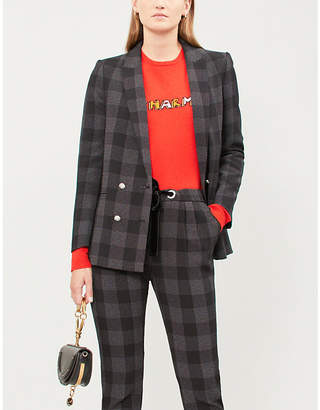 Claudie Pierlot Double-breasted checked crepe jacket