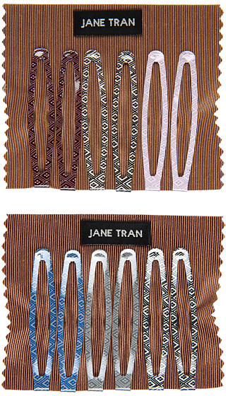 Jane Tran Aztec Print Muted Hair Clips