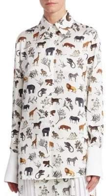 Victoria Beckham Victoria, Silk Grandad Safari Shirt