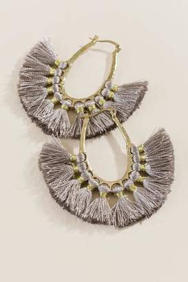 francesca's Janna Tassel Statement Earrings - Gray