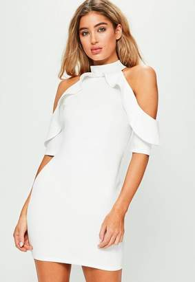 Missguided Petite Exclusive White Frill Cold Shoulder Dress