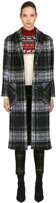 Moschino Oversized Wool Blend Plaid Coat