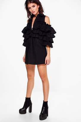 boohoo Tiered Ruffle Shirt Dress