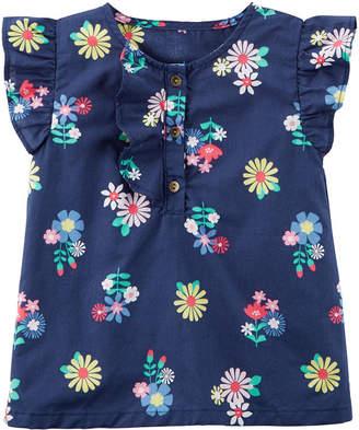 Carter's Flutter Short Sleeve Blouse - Toddler Girls
