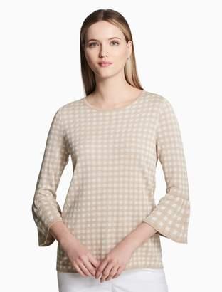 Calvin Klein gingham bell sleeve sweater