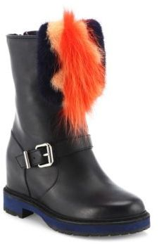 Fendi Caroline Leather & Fur Moto Boots