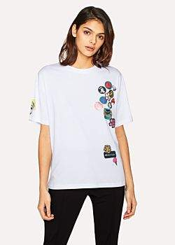 Paul Smith Women's White 'Badges' Print T-Shirt With Removable Pin Badges
