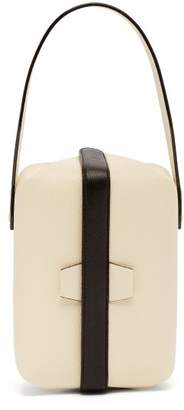Valextra Tric Trac Grained Leather Clutch - Womens - White Black