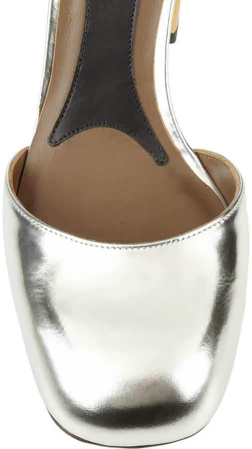 Marni Mirrored-leather pumps