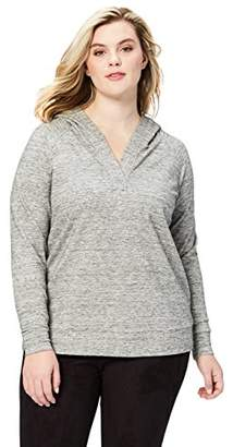 Amazon Brand - Daily Ritual Women's Plus Size Terry Cotton and Modal Hooded Henley Pullover