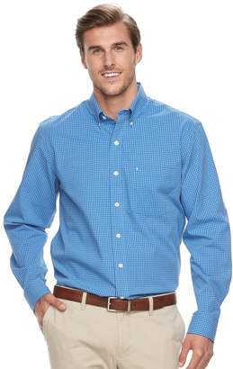 Izod Big & Tall Regular-Fit Gingham-Checked Stretch Button-Down Shirt