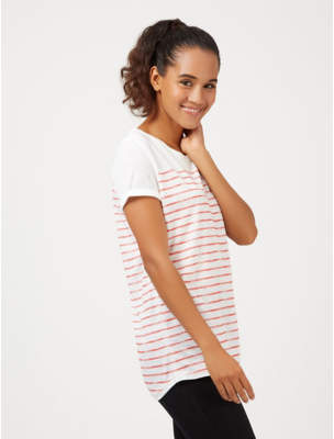 George White Red Stripe Scoop Neck T-Shirt