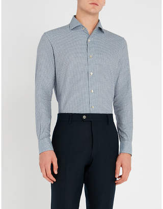 Corneliani Houndstooth-patterned regular-fit cotton shirt