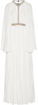 Jenny Packham - Cape-effect Embellished Plissé Crepe De Chine Gown - Ivory $5,400 thestylecure.com