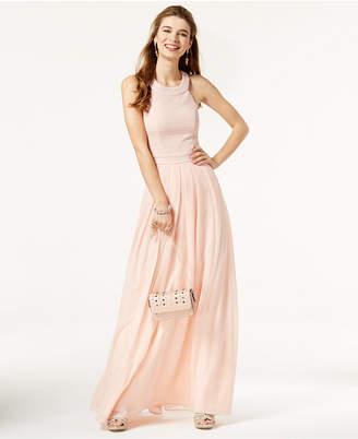 Trixxi Juniors' Bow-Back Glitter Gown