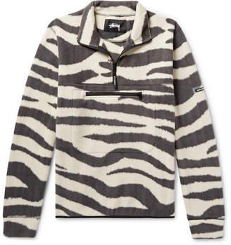 Stussy Zebra-Print Fleece Half-Zip Sweatshirt