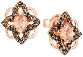 LeVian Le Vian Chocolatier Peach Morganite (5/8 ct. t.w.) & Diamond (1/3 ct. t.w.) Stud Earrings in 14k Rose Gold