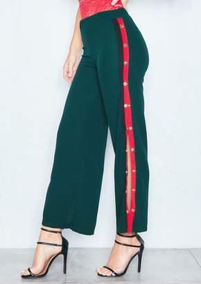 7757fd4eec7e Missy Empire Missyempire Neema Emerald Green Side Stripe Popper Trousers