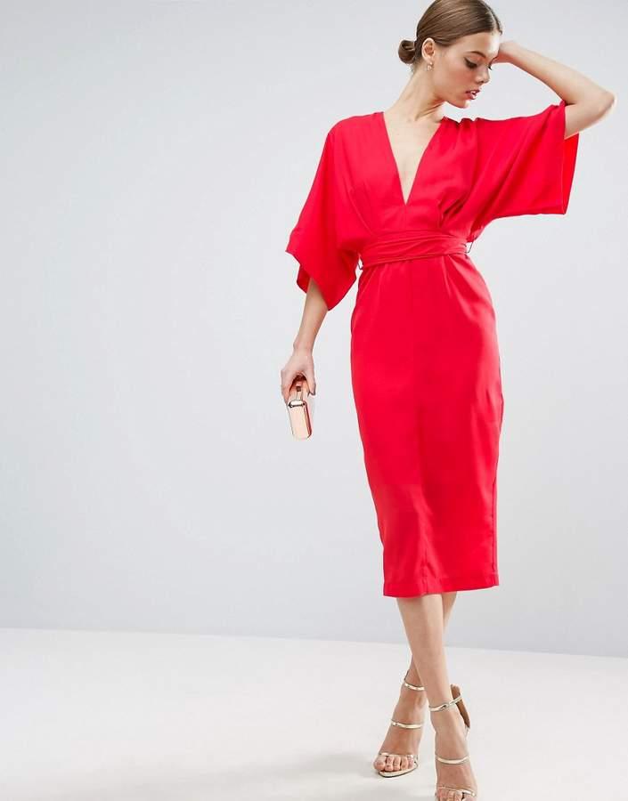 AsosASOS Kimono Plunge Midi Dress