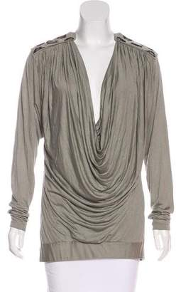 John Richmond Long Sleeve Draped Top