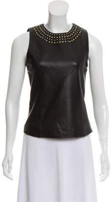 Neiman Marcus Cusp by Leather Stud-Accented Sleeveless Top