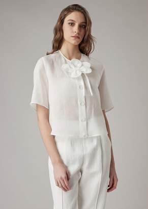 5524a72b3e8 Giorgio Armani Short-Sleeved Shirt In Ramie Canvas With Detachable Flower