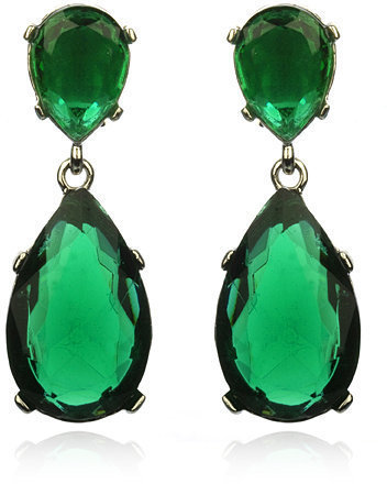Kenneth Jay Lane Emerald Drop Earrings, Silver